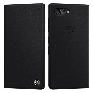 The Official Blackberry Key2 Flip Case with built in double card holder in black provides tough and stylish all round protection for your Blackberry KEY2, keeping it looking as good as new with a stunning genuine leather textured design.