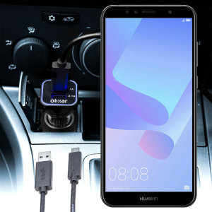 Keep your Huawei Y6 2018 fully charged on the road with this compatible Olixar high power dual USB 3.1A Car Charger with an included high quality USB to Micro-USB charging cable.