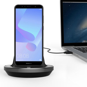 Synchronise and charge your Huawei Y6 2018 with this stylish and case compatible desktop dock which also acts as a multimedia stand.