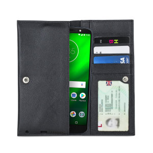 Crafted from premium quality genuine leather, with precision stitching and stud closure, and featuring a luxurious soft lining, document pockets and card slots, the Primo Wallet for the Motorola Moto G6 Plus will protect your phone in style.
