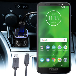 Keep your Motorola Moto G6 fully charged on the road with this compatible Olixar high power dual USB 3.1A Car Charger with an included high quality USB to USB-C charging cable.