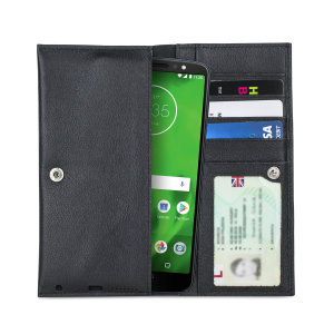 Crafted from premium quality genuine leather, with precision stitching and stud closure, and featuring a luxurious soft lining, document pockets and card slots, the Primo Wallet for the Motorola Moto G6 will protect your phone in style.