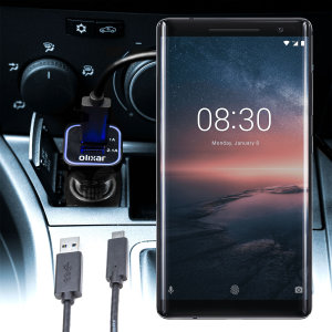 Keep your Nokia 8 Sirocco fully charged on the road with this compatible Olixar high power dual USB 3.1A Car Charger with an included high quality USB to USB-C charging cable.