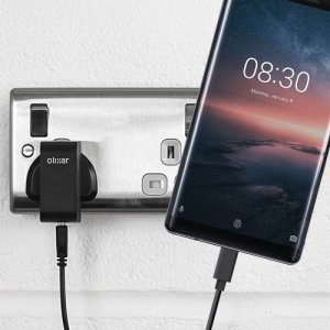 Charge your Nokia 8 Sirocco and any other USB device quickly and conveniently with this compatible 2.4A high power USB-C UK charging kit. Featuring a UK wall adapter and USB-C cable.