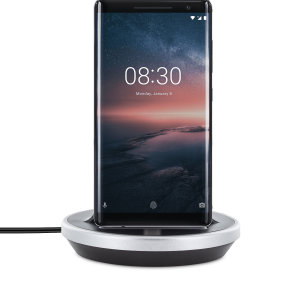 Synchronise and charge your Nokia 8 Sirocco with this stylish and case compatible desktop dock which also acts as a multimedia stand. Supports USB-C (USB Type-C).