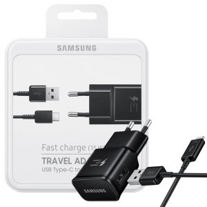 A genuine Samsung EU Adaptive Fast mains charger wall plug with USB-C cable in black. This official Retail Packed charger and cable can charge any compatible device at super fast speeds.