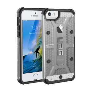 The Urban Armour Gear Plasma semi-transparent tough case in ice clear and black for the iPhone 5S features a protective case with a brushed metal UAG logo insert for an amazing rugged and stylish design.