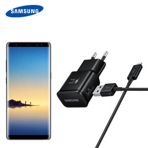 A genuine Samsung EU Adaptive Fast mains charger wall plug with USB-C cable in black for the Samsung Galaxy Note 8. This official Retail Packed charger and cable can charge your smartphone at rapid rates so you are always ready for action.