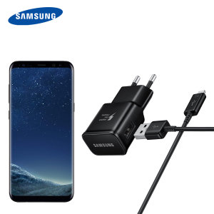 A genuine Samsung EU Adaptive Fast mains charger wall plug with USB-C cable in black for the Samsung Galaxy S8. This official Retail Packed charger and cable can charge your smartphone at rapid rates so you are always ready for action.