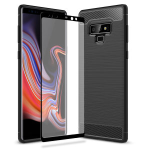 Premium Matte Finish Anti-slip Kulfiber og børstet metal design med fleksibel robust taske, sort Olixar Sentinel taske med forbedret beskyttelsesfolie beskytter Samsung Galaxy Note 9 fra 360 grader.
