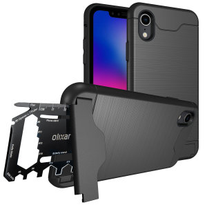 As seen on EverythingApplePro! Prepare your iPhone XR for the great outdoors with the rugged X-Ranger case. With a handy kickstand and a secure compartment for the included multi-tool - or the card of your choice - you'll be ready for anything.