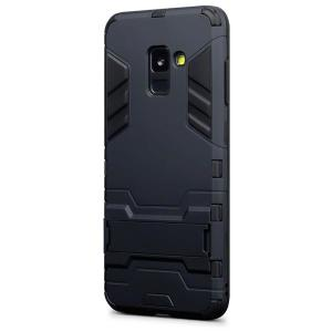 Protect your Samsung Galaxy A8 2018 from bumps and scrapes with this black dual layer armour case from Encase. Comprised of an inner TPU section and an outer impact-resistant exoskeleton, with a built-in viewing stand.