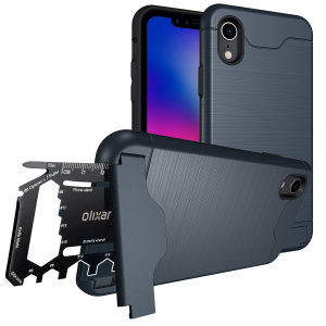 As seen on Everything ApplePro! Prepare your iPhone XR for the great outdoors with the rugged blue X-Ranger case. With a handy kickstand and a secure compartment for the included multi-tool - or the card of your choice - you'll be ready for anything.