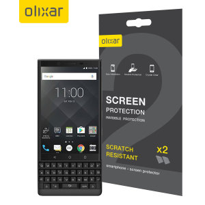 Keep your BlackBerry Key2's screen in pristine condition with this Olixar scratch-resistant screen protector 2-in-1 pack.