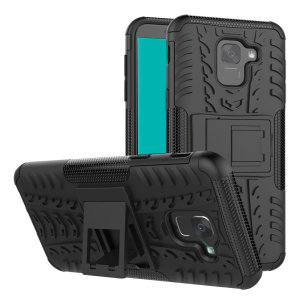 Protect your Samsung Galaxy J6 from bumps and scrapes with this black ArmourDillo case from Olixar. Comprised of an inner TPU case and an outer impact-resistant exoskeleton, with a built-in viewing stand.