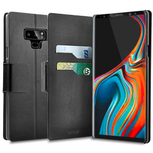 Protect your Samsung Galaxy Note 9 with this durable and stylish black wallet leather-style case by Olixar. What's more, this case transforms into a handy stand to view media.