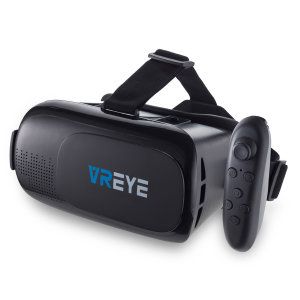 Discover new worlds through your smartphone with the Bitmore VR Eye Virtual Reality Headset. This sturdy, immersive headset comes with an adjustable head strap and a Bluetooth remote control.