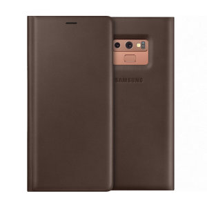 This Official Samsung Leather Wallet Cover in brown is the perfect way to keep your Galaxy Note 9 smartphone protected whilst keeping yourself updated with your notifications.