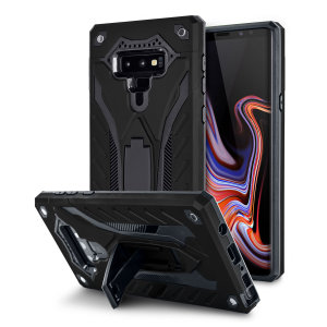 Fully protect your Galaxy Note 9 from scratches and scrapes with the Raptor tough stand case in tactical black by Olixar. With a sleek military design, rugged protection and included kick stand, your Note 9 will stay safe while looking formidable.