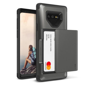 Protect your Samsung Galaxy Note 9 with this precisely designed case in metal black from VRS Design. Made with tough yet slim material, this hardshell construction with soft core features patented sliding technology to store two credit cards or ID.