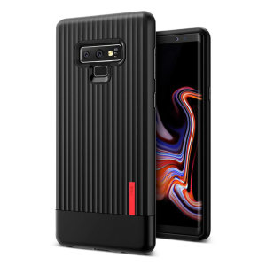 Protect your Samsung Galaxy Note 9 with this precisely designed and durable case from VRS Design. Made with sturdy, yet flexible premium material, this black polycarbonate hardshell features a slim design with precise cut-outs for your phone's ports.