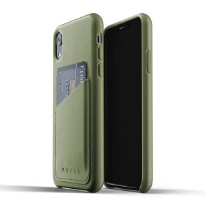 Designed for the iPhone XR, this olive genuine leather case from Mujjo provides a perfect fit and durable protection against scratches, knocks and drops with the added convenience of a credit card-sized slot.