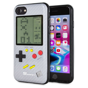 Transform your iPhone 8 into a classic games console with this Retro Game Case by SuperSpot. Featuring an original Game Boy styled design, this case in carbon white will keep you entertained for hours while offering excellent protection for the iPhone 8.