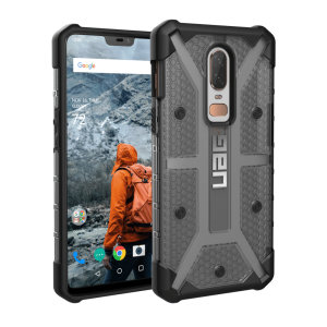 The Urban Armour Gear Plasma semi-transparent tough case in ash grey and black for the OnePlus 6 features a protective case with a brushed metal UAG logo insert for an amazing rugged and stylish design.