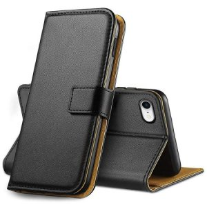 A sophisticated lightweight black genuine leather case with a magnetic fastener. The genuine leather wallet case from Olixar offers perfect protection for your iPhone 8, as well as featuring slots for your cards, cash and documents.