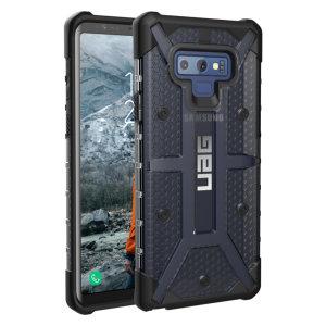 Urban Armour Gear till Samsung Galaxy Note 9 har ett skyddande TPU-skal med en borstad UAG-logotyp i metall för en fantastisk design.