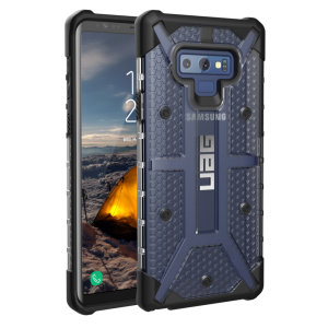 The Urban Armour Gear Plasma semi-transparent tough case in ice and black for the Samsung Galaxy Note 9 features a protective case with a brushed metal UAG logo insert for an amazing rugged and stylish design.