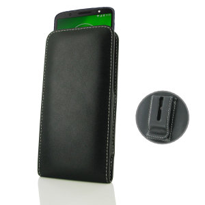 Protect your Moto G6 Plus with this stylish leather vertical pouch case with included belt clip by PDair. Designed using specially selected premium leather and featuring a hand stitched design, PDair cases are perfect for work and social situations.