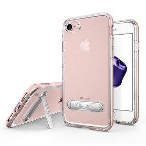 Préservez le style épuré et ultra-élégant de votre iPhone 7 tout en lui attribuant une protection maximale à l'aide de la coque Spigen Crystal Hybrid en coloris or rose.