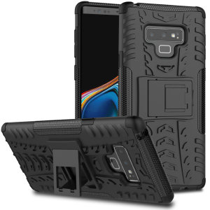 Protect your Samsung Galaxy Note 9 from bumps and scrapes with this black ArmourDillo case from Olixar. Comprised of an inner TPU case and an outer impact-resistant exoskeleton, with a built-in viewing stand.