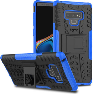 Protect your Samsung Galaxy Note 9 from bumps and scrapes with this blue ArmourDillo case from Olixar. Comprised of an inner TPU case and an outer impact-resistant exoskeleton, with a built-in viewing stand.