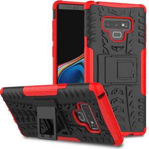Protect your Samsung Galaxy Note 9 from bumps and scrapes with this red ArmourDillo case from Olixar. Comprised of an inner TPU case and an outer impact-resistant exoskeleton, with a built-in viewing stand.