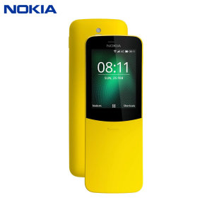 Unlocked Nokia 8110 4G in yellow. Taking the best of the original Nokia banana phone preleased back in the 1990's, the 8110 adds a colour display, Micro SD card expansion, 2MB camera, FM radio and Bluetooth compatibility.