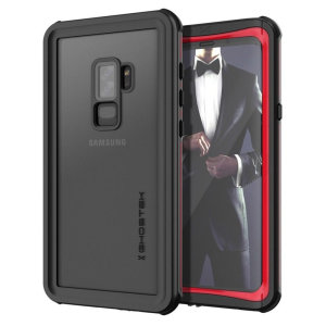 Shield your precious Samsung Galaxy S9 Plus on both land and at sea with the extremely tough, yet incredibly stylish Nautical Series Waterproof case from Ghostek in black with red trim. Protecting your S9 from depths of up to 1 meter for up to 30 minutes.