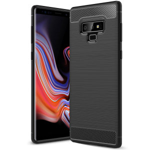 Flexible rugged casing with a premium matte finish non-slip carbon fibre and brushed metal design, this Olixar case in black keeps your Samsung Galaxy Note 9 protected.