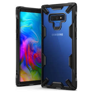 Keep your Samsung Galaxy Note 9 protected from bumps and drops with the Rearth Ringke Fusion X tough case in black. Featuring a 2-part, Polycarbonate design, this case lives up to military drop test standards.