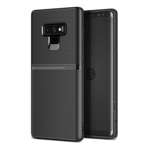 The Obliq Flex Pro Shell Case in carbon black is a stylish and ergonomic protective case for the Samsung Galaxy Note 9, providing impact absorption and fantastic grip due to its textured surface design.
