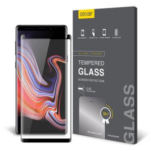 Houd het scherm van je Samsung Galaxy Note 9 in onberispelijke staat met deze Olixar gehard glas gebogen schermbeschermer, ontworpen voor volledige dekking van het scherm van je telefoon. Dit ontwerp laat ook genoeg ruimte over voor een koffer.