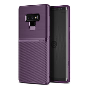 The Obliq Flex Pro Shell Case in carbon purple is a stylish and ergonomic protective case for the Samsung Galaxy Note 9, providing impact absorption and fantastic grip due to its textured surface design.