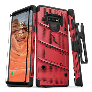 Equip your Samsung Galaxy Note 9 with military grade protection and superb functionality with the ultra-rugged Bolt case in red from Zizo. Coming complete with a tempered glass screen protector, handy belt clip and integrated kickstand.