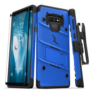 Equip your Samsung Galaxy Note 9 with military grade protection and superb functionality with the ultra-rugged Bolt case in blue from Zizo. Coming complete with a tempered glass screen protector, handy belt clip and integrated kickstand.