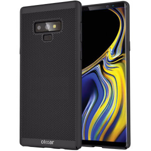 A supremely precision engineered lightweight slimline case in black with a perforated mesh pattern that looks great, adds grip and aids heat dissipation from your Samsung Galaxy Note 9, as well as enhance the high performance beauty of the device.