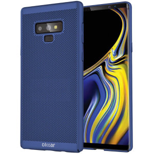A supremely precision engineered lightweight slimline case in ocean blue with a perforated mesh pattern that looks great, adds grip and aids heat dissipation from your Samsung Galaxy Note 9, as well as enhance the high performance beauty of the device.