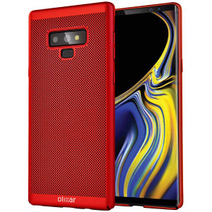 A supremely precision engineered lightweight slimline case in brazen red with a perforated mesh pattern that looks great, adds grip and aids heat dissipation from your Samsung Galaxy Note 9, as well as enhance the high performance beauty of the device.
