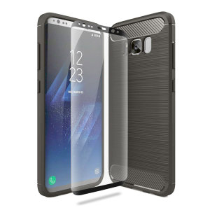 Flexible rugged casing with a premium matte finish non-slip carbon fibre and brushed metal design, the Olixar Sentinel case in black keeps your Samsung Galaxy S8 protected from 360 degrees with the added bonus of a tempered glass screen protector.
