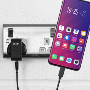 Charge your Oppo Find X and any other USB device quickly and conveniently with this compatible 2.5A high power USB-C UK charging kit. Featuring a UK wall adapter and USB-C cable.